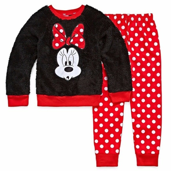 Girls Disney Minnie Mouse Black White Red Pajama Set